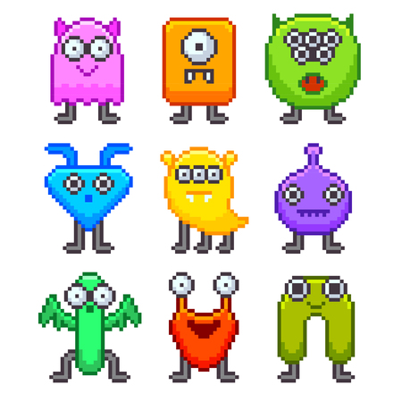 emotions faces: Pixel monsters for games icons high detailed vector set Illustration
