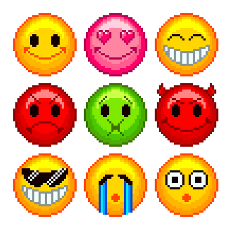 smileys: Pixel smileys for games icons high detailed vector set Illustration