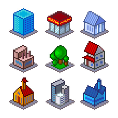 game icon: Pixel isometrical city buildings icons high detailed vector set