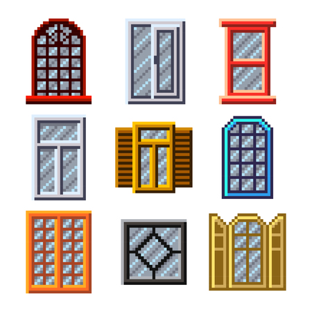 Pixel windows for games icons high detailed vector set