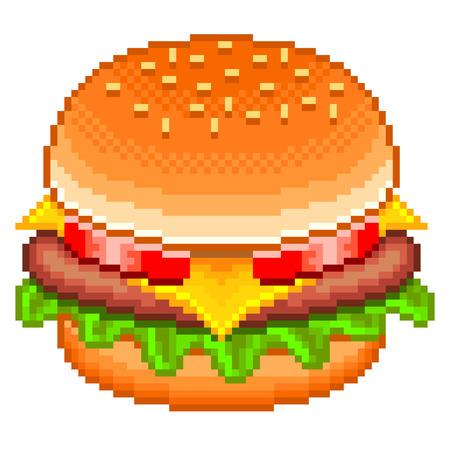 Pixel tasty hamburger high detailed isolated vector