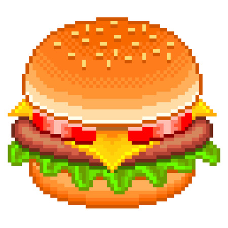 tasty: Pixel tasty hamburger high detailed isolated vector