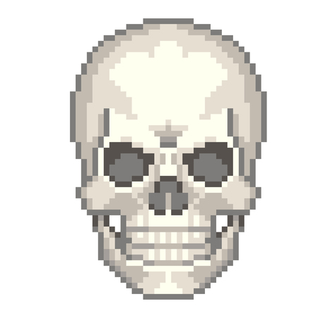 death metal: Pixel human skull high detailed isolated vector