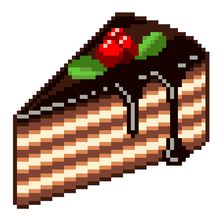 porcion de torta: Pixel piece of cake high detailed isolated vector