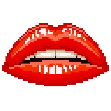 lip gloss: Pixel beautiful red glossy woman lips isolated vector