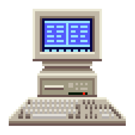 old pc: Pixel old computer high detailed isolated vector