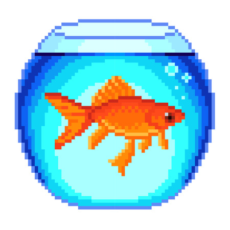 fishbowl: Pixel goldfish in fishbowl detailed isolated vector