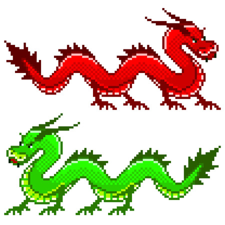 Pixel red and green dragon high detailed isolated vector