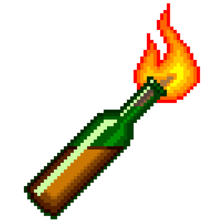 incendiary: Pixel Molotov cocktail high detailed isolated vector