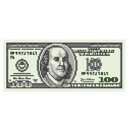 dollar bill: Pixel one hundred dollars high detailed isolated vector
