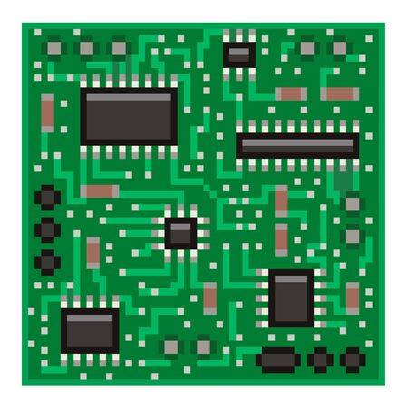 computer art: Pixel big microchip high detailed isolated vector Illustration