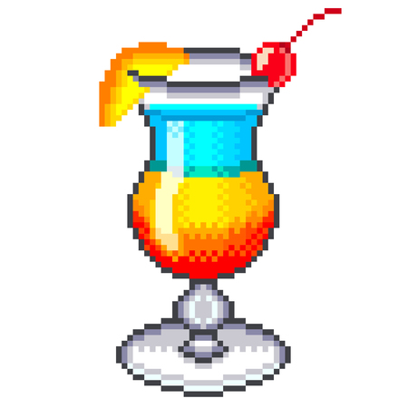 high detailed: Pixel rainbow cocktail high detailed isolated vector