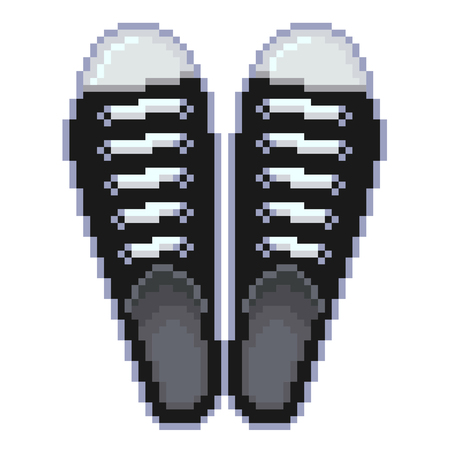 shoes vector: Pixel black sports shoes detailed isolated vector