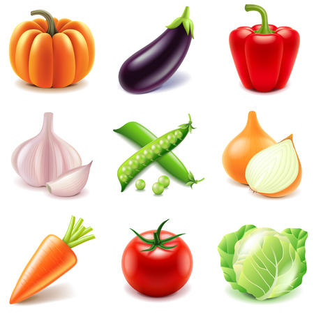 Vegetables icons detailed photo realistic vector set
