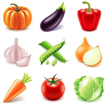 verduras verdes: Verduras iconos foto detallada conjunto realista del vector