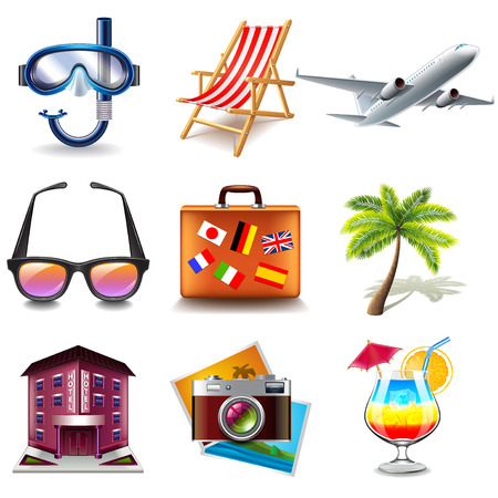 photorealistic: Travel icons detailed photo realistic vector set