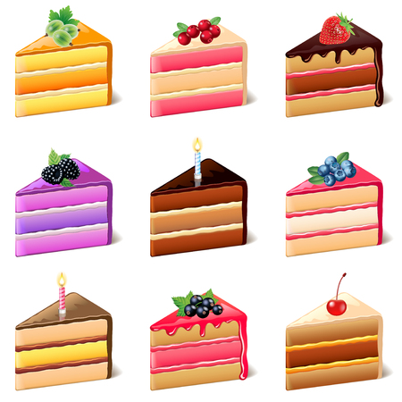 cake slice: Cakes icons detailed photo realistic vector set