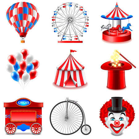 Circus icons detailed photo realistic vector set Illustration
