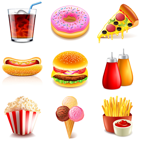 Fast food icons detailed photo realistic vector set Vectores