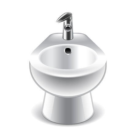 bidet: Bidet isolated on white photo-realistic vector illustration Illustration
