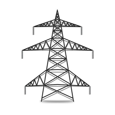 voltage: Electric lines isolated on white photo-realistic vector illustration Illustration