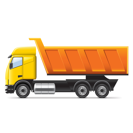dumptruck: Dump truck isolated on white photo-realistic vector illustration