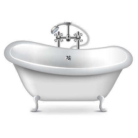 freestanding: Empty bath isolated on white photo-realistic vector illustration Illustration