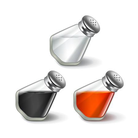 sal: Sal y pimienta aislados en blanco ilustración vectorial foto-realista
