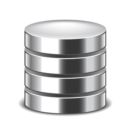 hardware: Database isolated on white photo-realistic vector illustration Illustration