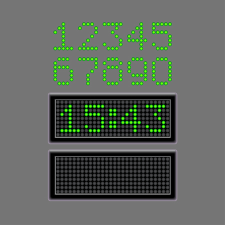 digital number: Scoreboard numbers and time isolated on grey photo-realistic vector illustration