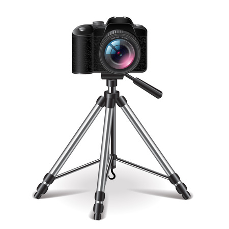 digital slr: Photo camera on a tripod isolated photo-realistic vector illustration Illustration