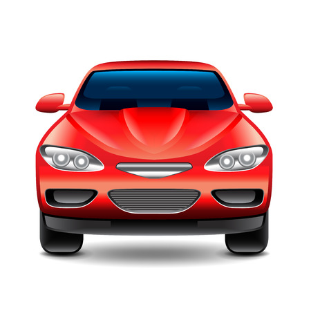 car front: Red car front view isolated on white photo-realistic vector illustration