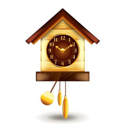 ornamented: Cuckoo-clock isolated on white photo-realistic vector illustration Illustration