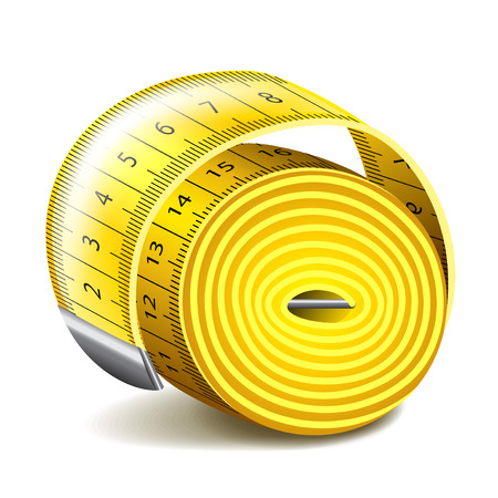 measuring: Measuring tape isolated on white photo-realistic vector illustration Illustration