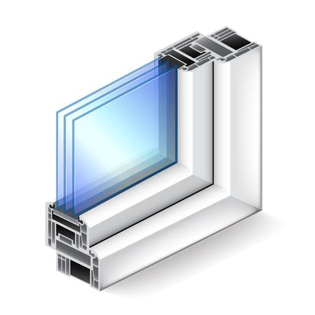 ocas: ventana de plástico en el corte aislado en blanco ilustración vectorial foto-realista Vectores