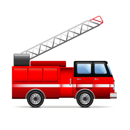bombero de rojo: Fire engine isolated on white photo-realistic vector illustration