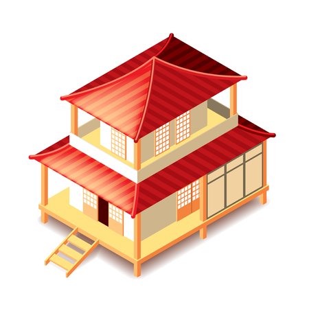 chinese temple: Isometrical tradition japan house isolated photo-realistic vector illustration Illustration