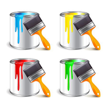 redecorate: Paint can and brush isolated on white photo-realistic vector illustration Illustration