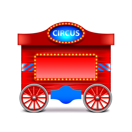 track and field: Circus wagon isolated on white photo-realistic vector illustration Illustration