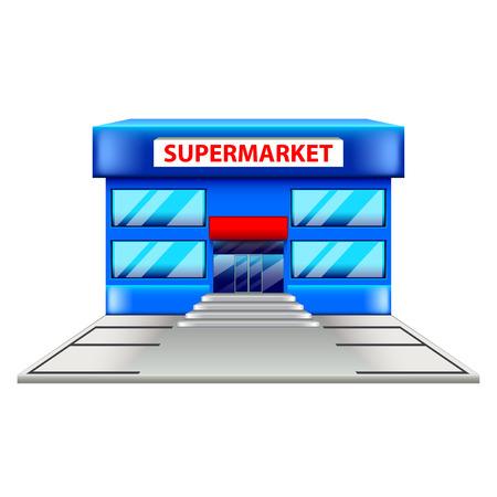 window case: Supermarket building isolated on white photo-realistic vector illustration