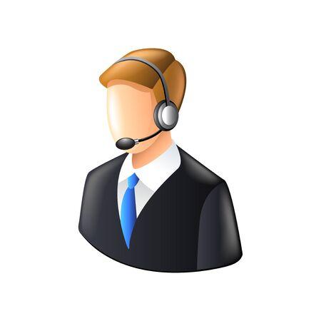 Call center operator die op witte photo-realistic vector illustratie
