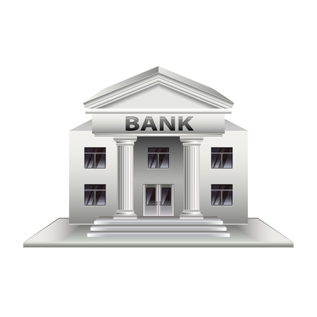 Bank building isolated on white photo-realistic vector illustration