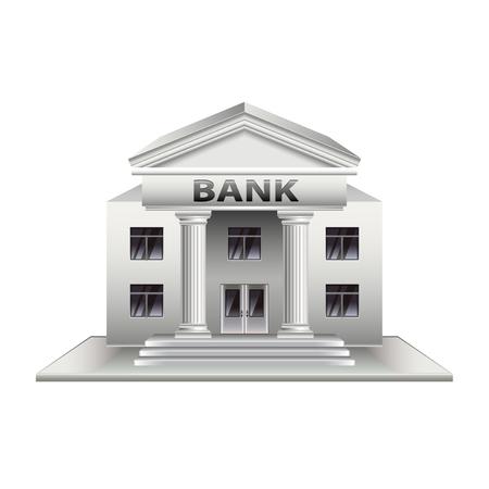 bâtiment Banque isolé sur la photo-réaliste blanc illustration vectorielle Vecteurs