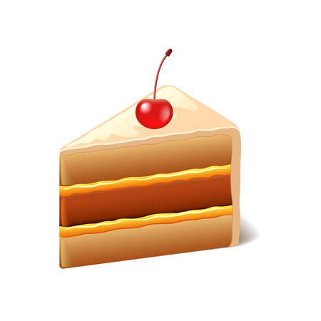 photorealistic: Cake with cherry isolated on white photo-realistic vector illustration