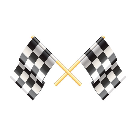 racing checkered flag crossed: Rally flags isolated on white photo-realistic vector illustration Illustration