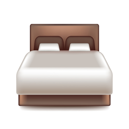 guest house: Big bed isolated on white photo-realistic vector illustration Illustration