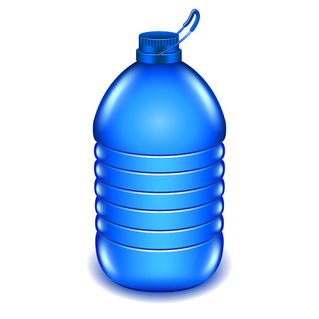 liter: Five liter plastic water bottle isolated on white photo-realistic vector illustration