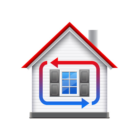 exchanger: House heating and cooling isolated on white photo-realistic vector illustration Illustration