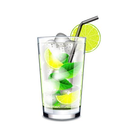 mojito: Mojito cocktail isolated on white photo-realistic vector illustration Illustration