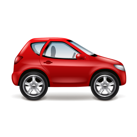 white car: Red car profile isolated on white vector illustration